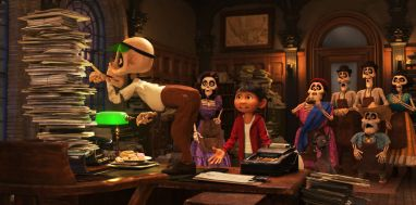 "ON COURSE TO CURSED – When aspiring musician Miguel (voice of Anthony Gonzalez) ends up in the Land of the Dead in Disney•Pixar's ""Coco,"" his family takes him to the Department of Family Reunions where a busy clerk (voice of Gabriel Iglesias) informs him that he's cursed. To return to the Land of the Living, Miguel will need a magical marigold petal and the blessing of a family member—but, according to the clerk, the family member can include any condition she likes—even forbidding music forever. Directed by Lee Unkrich (""Toy Story 3""), co-directed by Adrian Molina (story artist ""Monsters University"") and produced by Darla K. Anderson (""Toy Story 3""), Disney•Pixar's ""Coco"" opens in U.S. theaters on Nov. 22, 2017. ©2017 Disney•Pixar. All Rights Reserved."